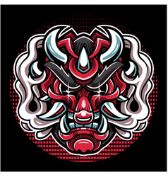 oni head mascot logo design vector image