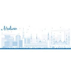 Outline Medina Skyline with Blue Buildings vector