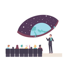 People characters attending a lecture in vector