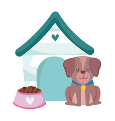 pet shop cute dog sitting house and food animal vector image