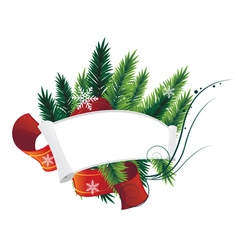 Pine Tree Christmas Wreath and paper roll vector