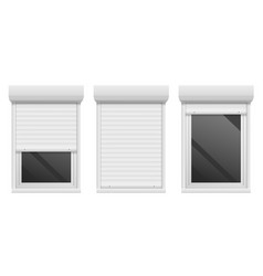 Rolling shutters realistic facade roller blind vector