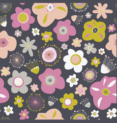 scandinavian flowers seamless background vector image