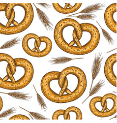Seamless pattern of sketch pretzels vector