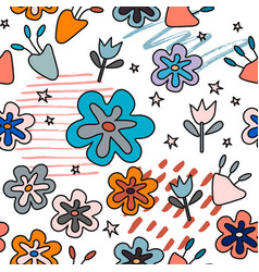 seamless pattern with abstract flowers creative vector image
