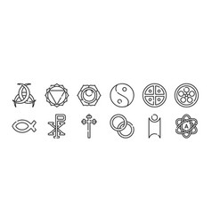 Set 12 thin outline icons such as atheist vector