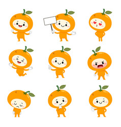 Set cute orange cartoon characters vector