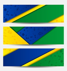 Set football flyers in Brazil flag colors vector image
