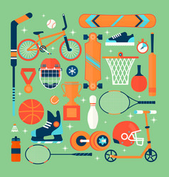 set of colorful sport iconsisolated vector image