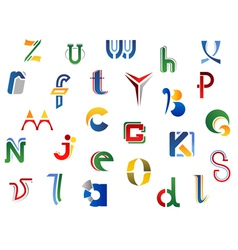 Set of full alphabet letters and icons vector