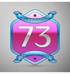 Seventy three years anniversary celebration silver vector