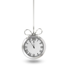 silver clock hanging on silver ribbon with bow vector image