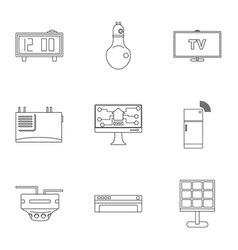 Smart home icon set outline style vector