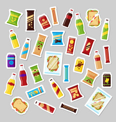 snack product set patch badges fast food snacks vector image