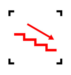 Stair down with arrow red icon inside vector