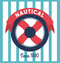 Steering wheel ship nautical emblem stripes vector