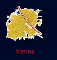 Sticker map of the city of vienna austria vector