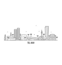 tel aviv skyline israel buildings linear vector image