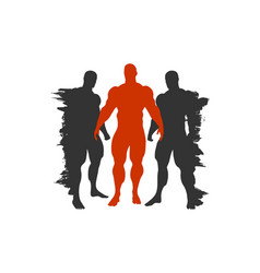 The set of 3 body building silhouette vector