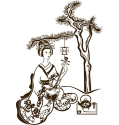 Traditional Japanese Geisha with Shamisen vector image