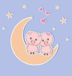 two cute pigs on the moon at night vector image