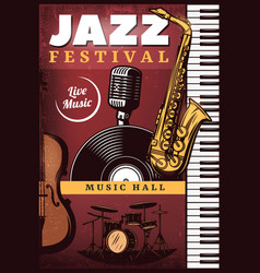 vintage colored jazz music poster vector image