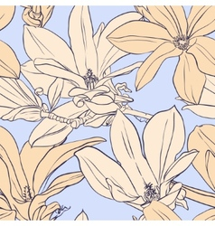 Vintage magnolia seamless pattern vector