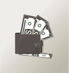 wallet paper money purse with cash vector image