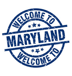 Welcome to maryland blue stamp vector