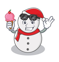 with ice cream snowman character cartoon style vector image