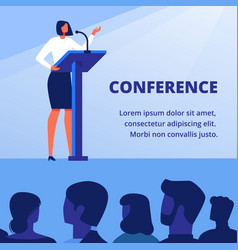 woman in business clothes near podium conference vector image