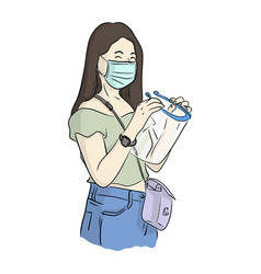 Woman with surgical mask wearing face shield vector