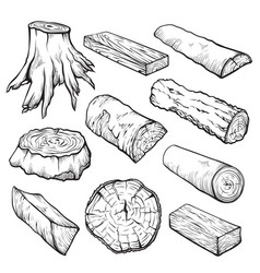 wooden logs and timber hand drawn vector image