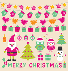 xmas design elements set vector image