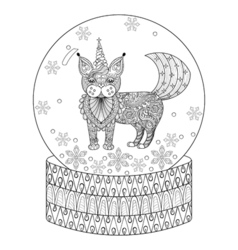 zentangle snow globe with maic cat like unicorn vector image