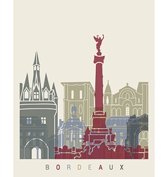 Bordeaux skyline poster vector image vector image