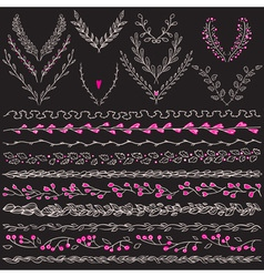 Chalkboard set of hand drawn floral graphic design vector image vector image