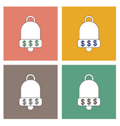 flat icon design collection bell with dollar vector image
