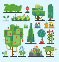 funny cartoon fantasy shape tree set nature vector image