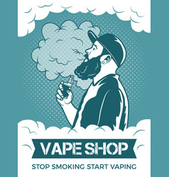 hipster holding electronic cigarette he smoking vector image