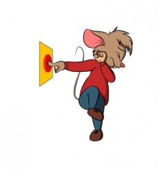 little mouse push danger button vector image vector image