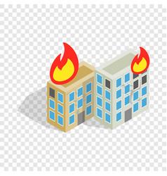 Multistory houses burn modern war isometric icon vector