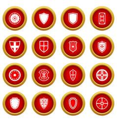 shield frames icon red circle set vector image vector image