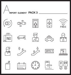 Airport element line icon setpack 3mono pack vector