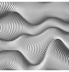 Black and white wavy stripes abstract background vector image