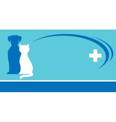 blue veterinarian background and pets silhouettes vector image vector image