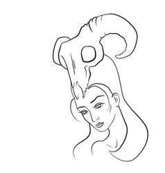 demon woman with goat skull on her head vector image