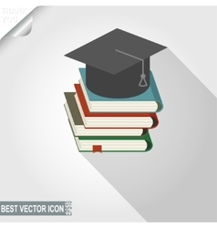 Graduation cap over the book stack icon vector image