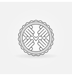 Hand made linear badge vector image
