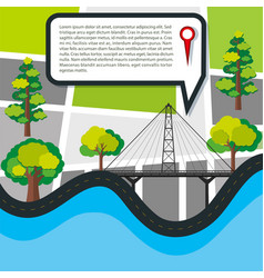 road map with field and bridge vector image